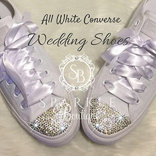 Women's Swarovski Converse Wedding Chucks - Custom All Star Converse with Crystals for the Bride - Quinceañera - Prom Shoes By SparkleBoutique2U