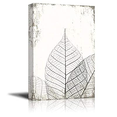 Created Just For You, Pretty Artistry, Black and White Leaf Vein on Rustic Background