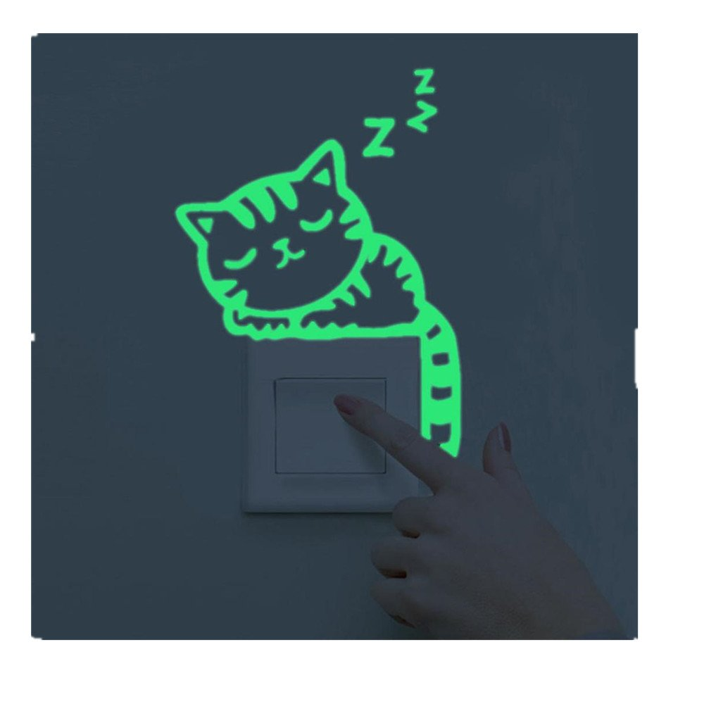 Womail Bathroom Cat Luminous Stickers Wall Decal For Living Room Light Switch Decor (A)