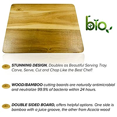 Cutting Board, Acacia Wood and Bamboo Dual Material Two in One New & Unique Design, Large and 1 Inch Thick with Juice Groove