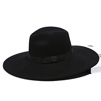 5b8cfdbd8c9b83 12cm Large Brim Fedora Jazz Hat Autumn Winter Trilby Wool Felt Hats Sun Hat  at Amazon Women's Clothing store: