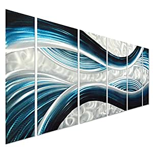 """Pure Art Blue Desire Metal Wall Art, Large Scale Decor in Abstract Ocean Design, 3D Wall Art for Modern and Contemporary Decor, 6-Panels Measures 24""""x 65"""", Great for Indoor and Outdoor Settings"""