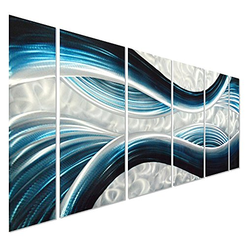 Pure Art Blue Desire Metal Wall Art, Large Scale Decor in Abstract Ocean Design, 3D Wall Art for Modern and Contemporary Decor, 6-Panels Measures 24''x 65'', Great for Indoor and Outdoor Settings by Pure Art