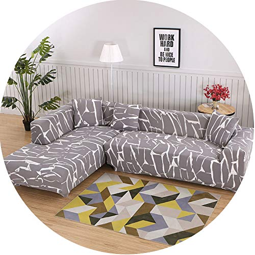 Sofa Cover Tight Sectional Slipcover Wrap All-Inclusive Corner Sofa Cover,9,2-Seater 145-185Cm Cotton Duck Upholstered Headboard