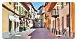 zaeshe3536658 City License Plate, Town of Alba Piedmont Northern Italy NarroStone Paved Street Among ColorfuHouses, High Gloss Aluminum Novelty Plate, 6 X 12 Inches.