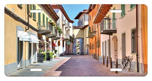 zaeshe3536658 City License Plate, Town of Alba Piedmont Northern Italy NarroStone Paved Street Among ColorfuHouses, High Gloss Aluminum Novelty Plate, 6 X 12 Inches. by zaeshe3536658