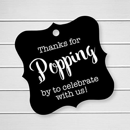 Thanks For Popping By Tags, Baby Shower Popcorn Tags, Wedding Popcorn Favor Tags (FS-370-BK) (Graduation Popcorn Bags compare prices)