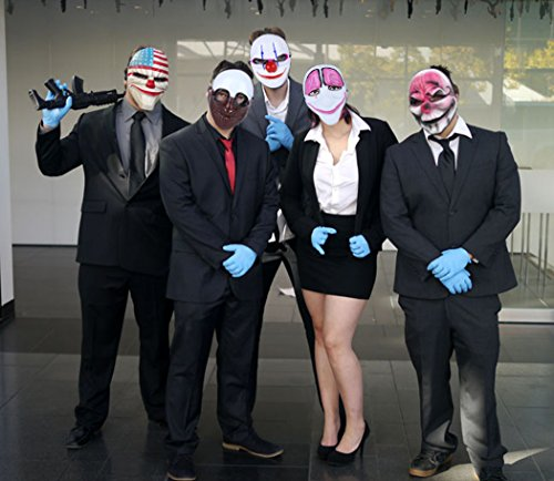 Payday Mask,Outgeek 3 Pcs Hoxton Dallas Wolf Payday Mask Clown Mask Airsoft Payday Mask for Xmas Party Kids Adult
