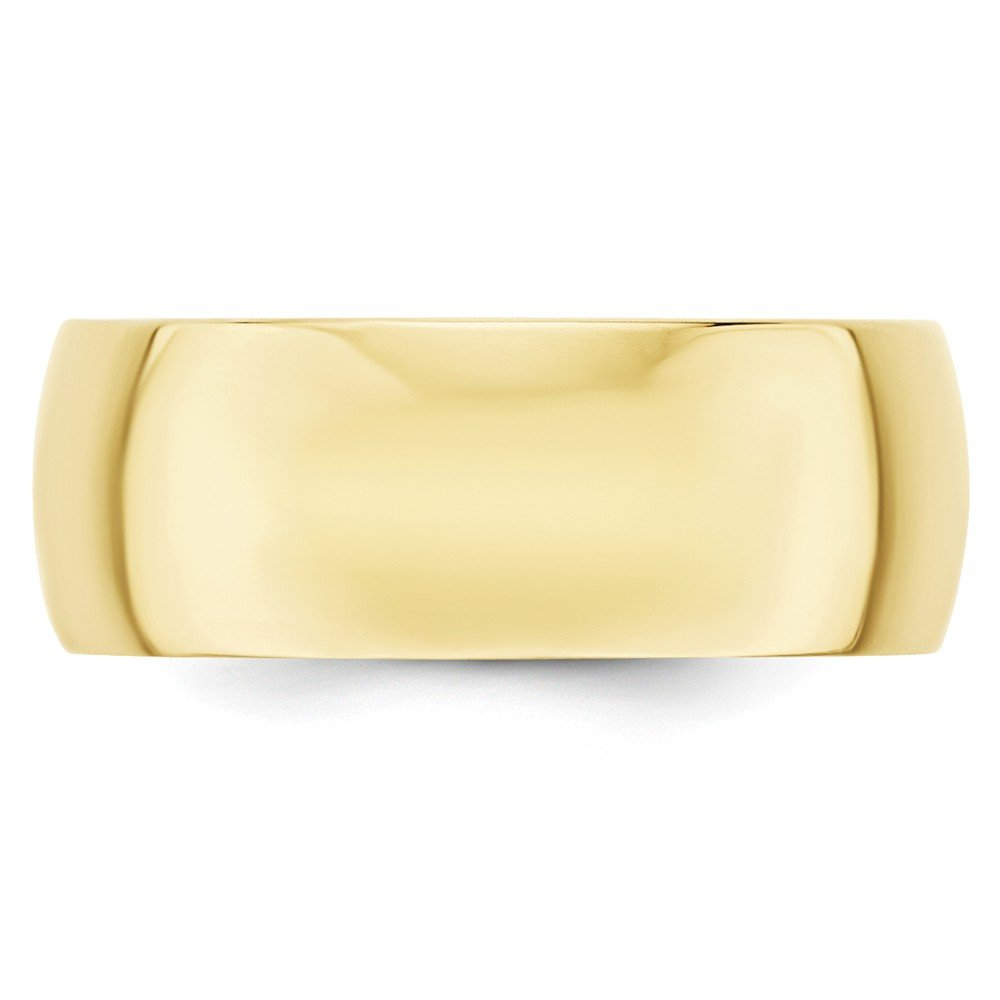 Solid 10k Yellow Gold 8mm Half Round Wedding Band