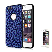 For iPhone 6 Plus/6S Plus Case [with Free Screen Protector],Funyee New Creative Leopard Print Plush Flexible Soft TPU Silicone Shockproof Ultra Thin Durable Phone Case for iPhone 6 Plus/6S Plus,Blue