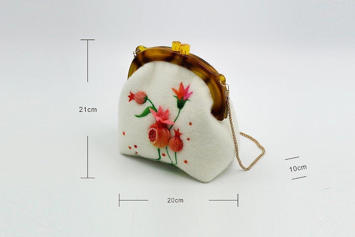 Ysting bolso de fieltro hecha a mano con,monedero marco de ...