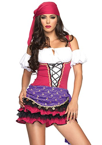 Leg Avenue Women's 3 Piece Gypsy Costume, Black/White, Small/Medium - Woman Gypsy Costumes