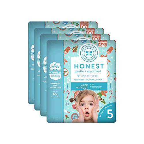 The Honest Company Baby Diapers with True Absorb Technology, Gingerbread Time, Size 5, 20 Count