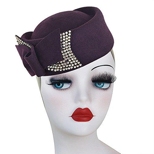 - Ladies Rhinestone Teardrop Fancy Wool Fascinator Cocktail Pillbox Cap Hat A254 (Purple)