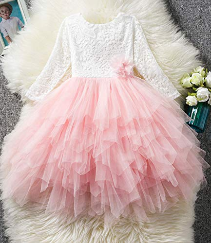 NNJXD Backless Lace Back Tutu Tulle Princess Party Dress Flower Girls Dresses Size (120) 4-5 Years Pink by NNJXD (Image #1)