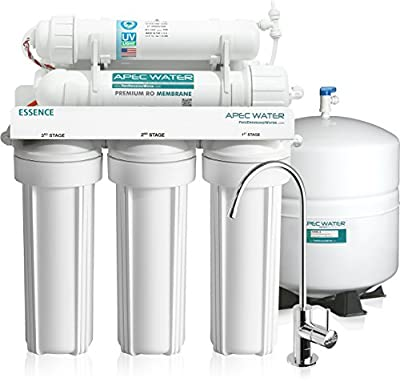 APEC Top Tier UV Sterilizer 75 GPD 6 Stage Ultra Safe Built in USA Reverse Osmosis Drinking Water Filter System (ESSENCE ROES-UV75)