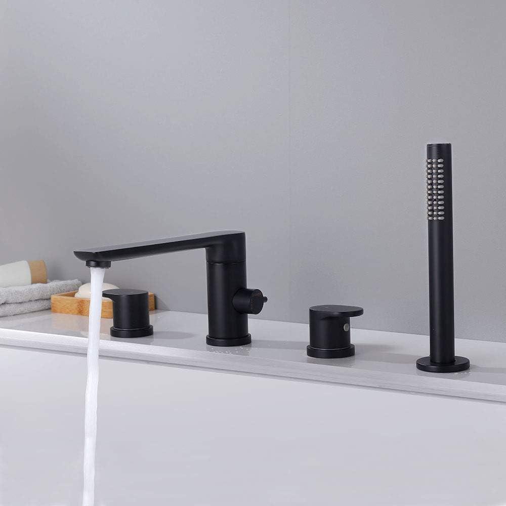 chrome poli Y2Series-P Contemporain 3-Hole Set B noir Turs Robinet de salle de bain en laiton massif avec poign/ée unique et mitigeur de baignoire large avec support de douche