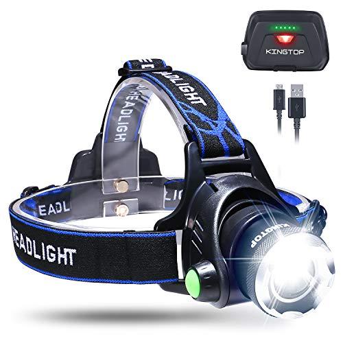 KINGTOP Lámpara Frontal Impermeable Linterna LED 1800 Lumens Linterna de Cabeza con Batería Recargable 3 Modos de…