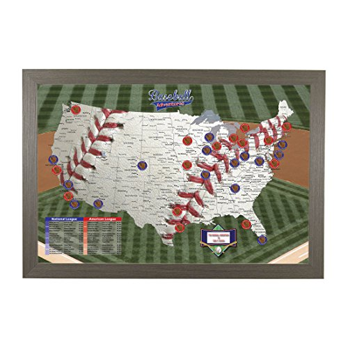 Push Pin Travel Maps Personalized Baseball Adventures with Barnwood Gray Frame and Pins - 27.5 inches x 39.5 -
