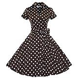 FloraFox Hepburn Style Retro Polka Short-sleeved Waist Big Swing Retro Tutu dress Coffee Dot XXL