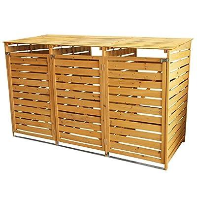Triple Wooden Wheelie Bin Store