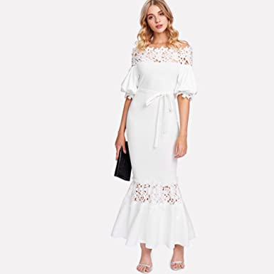 osierr6 Womens Sexy Off Shoulder Lace Belted Evening Party Bodycon Maxi Dress White(XL)