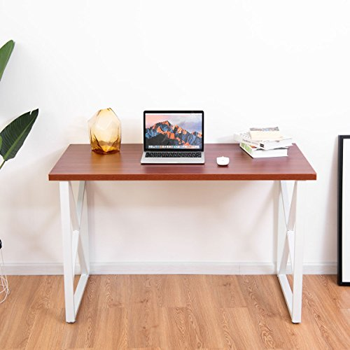 Tangkula Computer Desk PC Laptop Home Office Modern Simple Style Wood Study Workstation Writing Table Wooden Furniture Set(teak desltop with white legs)