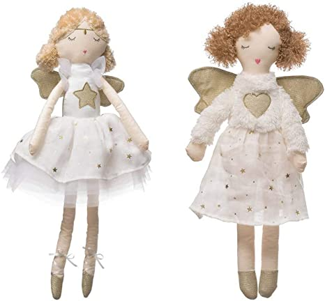 Amazon Com Creative Co Op Plush Angel Figurines With Gold Color Wings Heart Star Christmas Decor Set Of 2 Home Kitchen