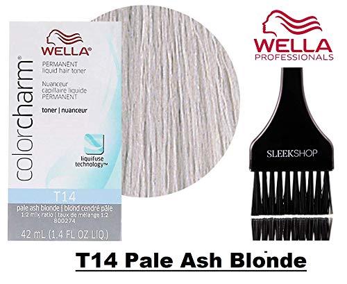 Wella COLOR CHARM Permanent LIQUID HAIR TONER (w/Sleek Tint Brush) Haircolor Liquifuse, 1:2 Mix Ratio Hair Color (T14 Pale Ash Blonde) Ash Liquid Hair Color