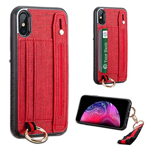 LUXCA Wallet Case for iPhone XR; Professional Leather Zipper Wallet Pocket Purse Handbag Wrist Strap snap on case for Apple iPhone XR (Red)