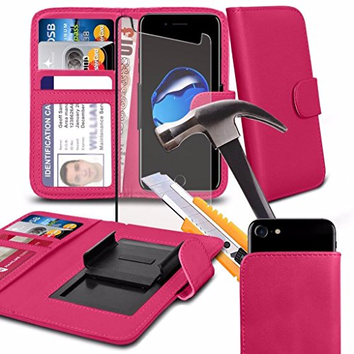 Samsung Galaxy Wide 2 (5.5) - Hülle Qualität Clamp Style Protective PU-Leder-Mappen-Kasten-Abdeckung with Tempered Glass (Black) by i-Tronixs Pink JwqYV6JD