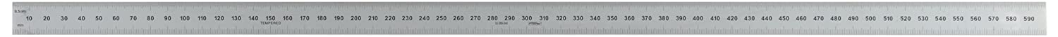 Fowler 52-380-040 Flexible Steel Metric Rule with Satin Chrome Finish 1mm and 0.5mm Graduation Interval 600mm L x 20mm W x 0.4mm Thick