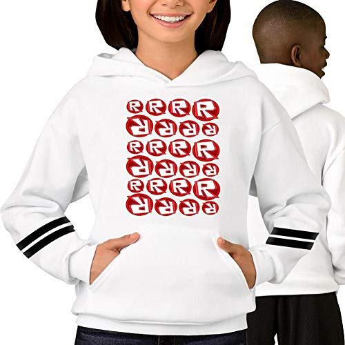 Ro-bl-ox Background Pattern Children and Adolescents Printed Sweatshirts with Hooded Pockets White L (Best Selling Psp Games Of All Time)