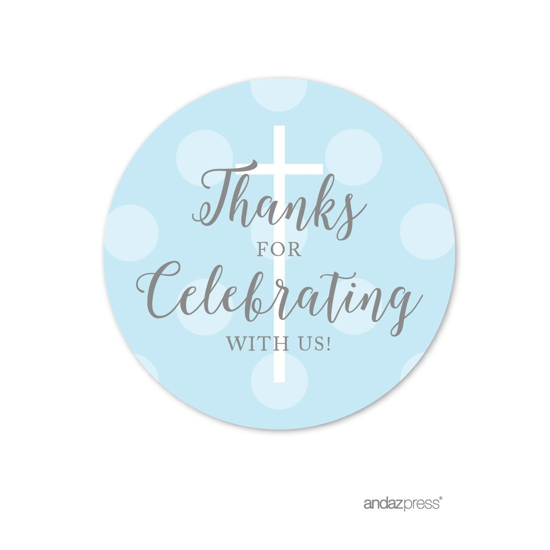 Andaz Press Baby Blue and Gray Boy Baptism Collection, Round Circle Label Stickers, Thanks for Celebrating With Us, 40-Pack