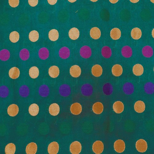 Polka Dot Dress Fabric (Green Brocade Jacquard Fabric Polka Dot Pattern Drape Dress Quilt Apparel Sewing Craft 1)