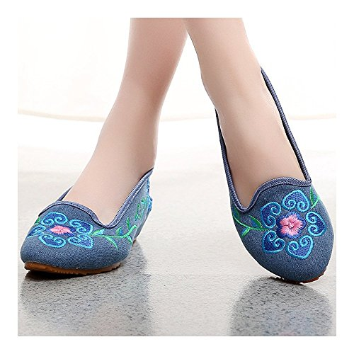 Flower Embroidered Petal Old blue Shoes Beijing 5 Cloth wqw6FxY