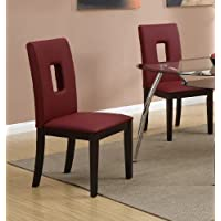 Parson Dining Chairs Set Of 2 Red Leather by Poundex