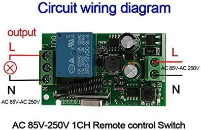 Andifany Universal 433 MHz AC 220V 1 canal de interruptor de control remoto modulo de receptor de rele inalambrico para 433 MHz RF transmisor de garaje