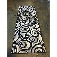 Modern Wide Contemporary Runner Area Rug Sculpture Design 241 Black (32 Inch X 7 Feet)