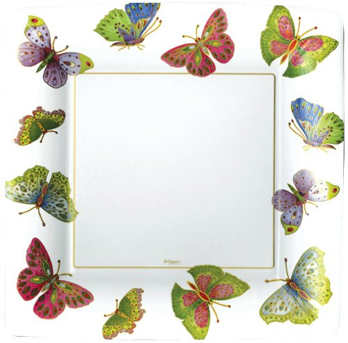 Entertaining with Caspari Jeweled Butterflies Paper Dinner Plates, Ivory, Pack of (Butterfly Cellophane)