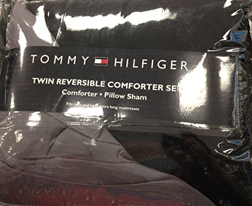 Tommy Hilfiger Reversible Comforter Set Fits Twin & Twin XL Mattresses - Black & (Tommy Hilfiger Polyester Comforter)