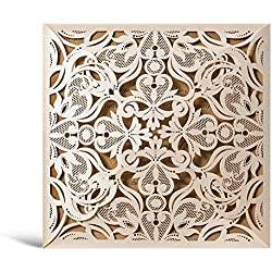 Wishmade 50x Beige Laser Cut Square Wedding Invitations Cards with Lace Flowers Engagement Birthday Bridal Shower Baby Shower Graduation Invitation Cardstock Party Favors(Set of 50pcs)