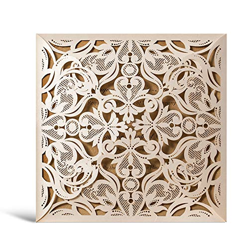 WISHMADE 50 Ivory Square Laser Cut Wedding Invitation Kit with Envelope, Card Stock invites for Bridal Shower Birthday Anniversary Dinner Party Quinceanera CW519_WH