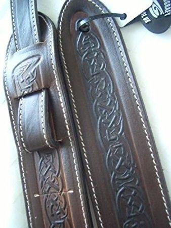 UK Made Celtic Design Real Leather Guitar Strap - Brown Design Leather Guitar Strap