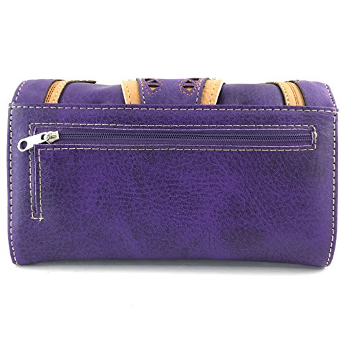 Laser Studded Trifold Crossbody Messenger Concealed Buckle Western Carry Layer Embroidered Justin Purple Only Triple Wallet Wallet West Flower Trifold Silver Cut Z70BqwO