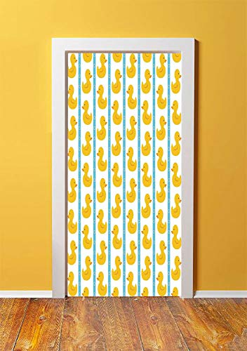 - Rubber Duck 3D Door Sticker Wall Decals Mural Wallpaper,Yellow Duckies with Blue Stripes and Small Circles Baby Nursery Play Toys Pattern,DIY Art Home Decor Poster Decoration 30.3x78.12620,White
