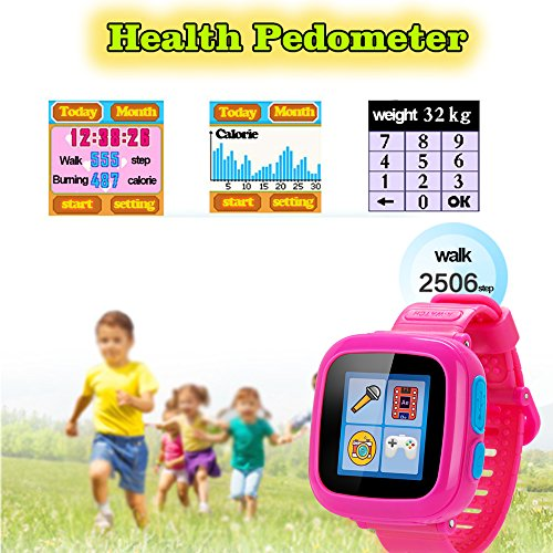 GBD Kids Game Watch,1.5'' Touch Smart Watches for Summer Birthday Gifts Travel Camping Kids Boys Girls with Pedometer Camera Alarm Clock Electronic Learning Toys (02Pink) by GBD (Image #3)
