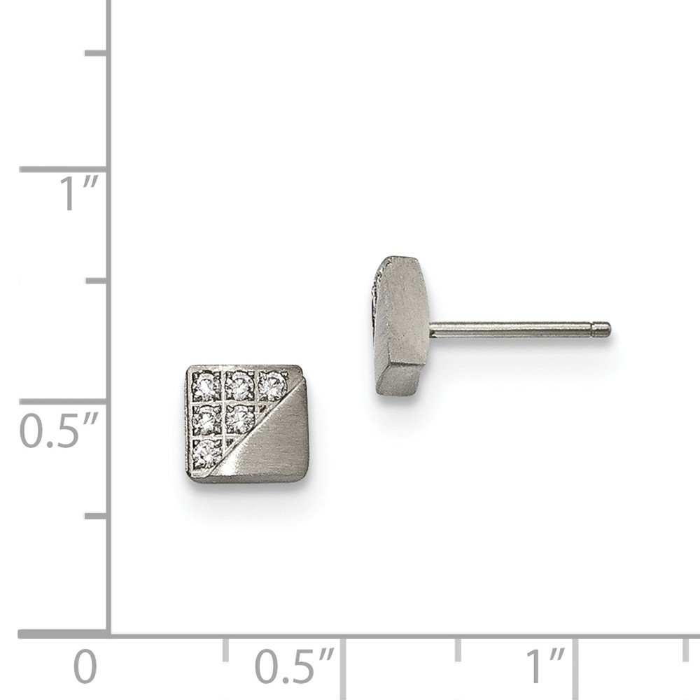 Stainless Steel Brushed CZ Square Post Earrings