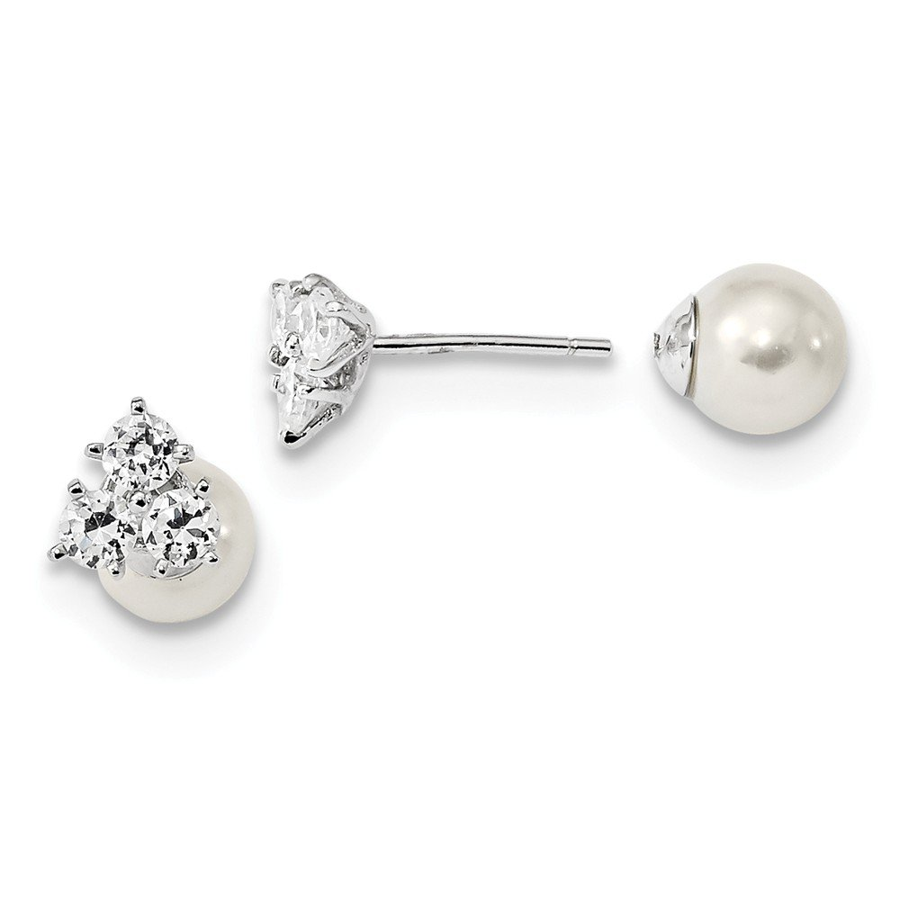 925 Sterling Silver Rhodium-plated CZ & Mother of Pearl Front & Back Earrings