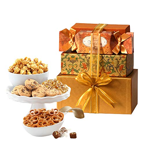 Broadway Basketeers Thinking of You Gift Tower Basket of Snacks, Cookies, Chocolates and Items for Father's Day…